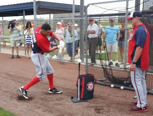 Ian Desmond takes his cuts off a tee with help from hitting coach Rick Schu.